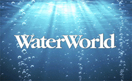 A body of water with an overlay of the Water World logo